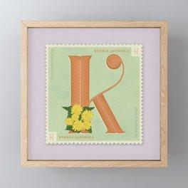 Sellos Naturales. Letter K. Flower: Kerria Japonica or Japanese Rose Framed Mini Art Print