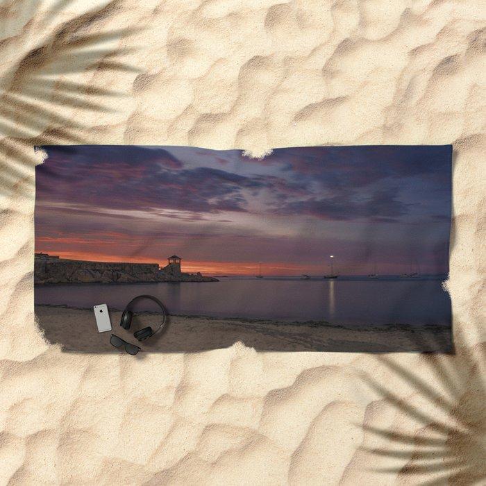 Front Beach After sunset Beach Towel