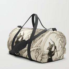 Sugar Cane Worker Cutting Canes Pencil Hand Drawing Vintage Style  Duffle Bag