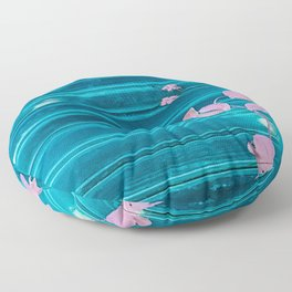 blue wooden wall pink jasmine minimal Floor Pillow