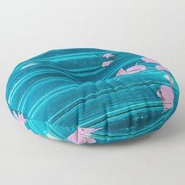 blue wooden wall pink jasmine minimal Floor Pillow