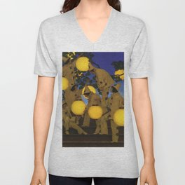 The Lantern Bearers by Maxfield Parrish Unisex V-Neck