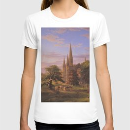 The Return Home medieval forest cathedral landscape painting by Thomas Cole T-shirt