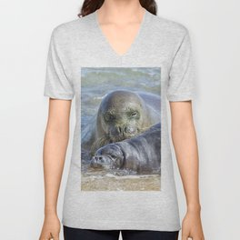 Mama Monk Seal and Pup at the Shoreline, No. 2 - RB00 and PK1 Unisex V-Neck