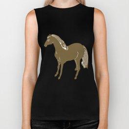 Brown Horse Printmaking Art Biker Tank