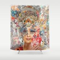 marie antoinette Shower Curtains featuring Marie Antoinette II by Katy Hirschfeld