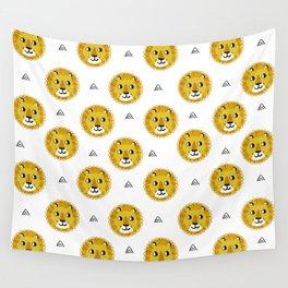 Lion cute pattern nursery kids geometric triangle animal safari Wall Tapestry