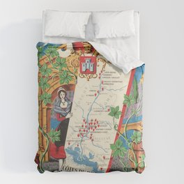 1950 Poster of Alsace, Loire Valley in France Duvet Cover