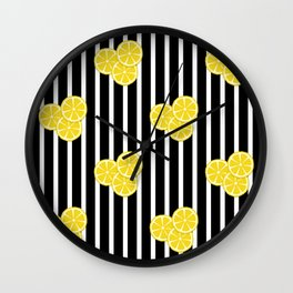 Lemon Slices on Black and White Stripes Wall Clock