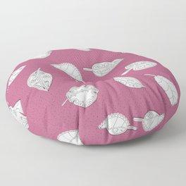 Random Leaves & Dots on Muted Plum Floor Pillow