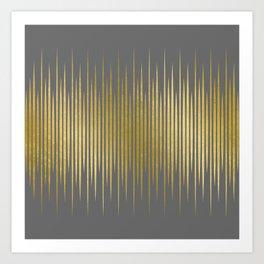 Linear Grey & Gold Art Print