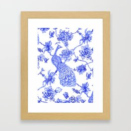 Chinoiserie Peacock Framed Art Print