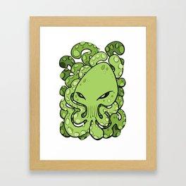 Octopus Squid Kraken Cthulhu Sea Creature - Green Framed Art Print