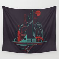 subway Wall Tapestries featuring From the Subway to the Sky (at Night) by Jay Fleck