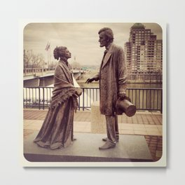 Harriet Beecher Stowe and President Abraham Lincoln Metal Print