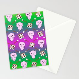 Cute funny Kawaii chibi little pink baby kittens, happy sweet cheerful sushi with shrimp on top, rice balls and chopsticks green pattern design. Stationery Cards