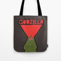 godzilla Tote Bags featuring Godzilla by evannave