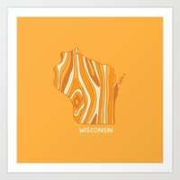 wisconsin Art Prints featuring Wisconsin by Out There Studio