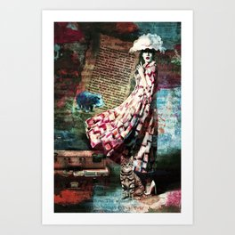 Cat, Woman and Hat Art Print