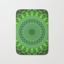 Detailed mandala in green color Bath Mat