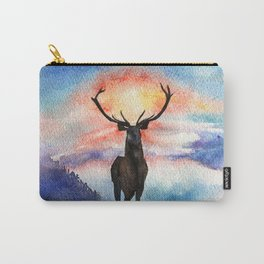 Deer on the top of the World - Watercolor Painting Art Carry-All Pouch