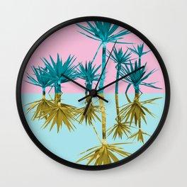 crazy palm trees Wall Clock