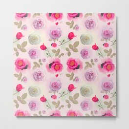 seamless   pattern with rose flowers . Endless texture Metal Print