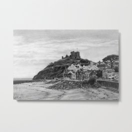 Criccieth Beach Wales UK Pencil Drawing Metal Print