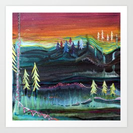 Behind the trees Art Print