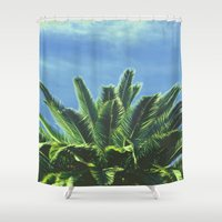 """palm tree Shower Curtains featuring Palm TreE  by """"CVogiatzi."""
