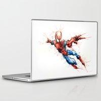 spider man Laptop & iPad Skins featuring Spider-Man by Nicola Girello