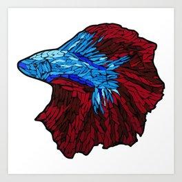 Betta Fighting Fish_Red Art Print
