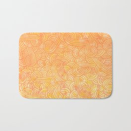 Yellow and orange swirls doodles Bath Mat