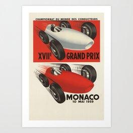 Vintage Monaco Grand Prix Poster - Circa 1959 Art Print