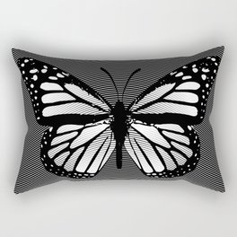 Black and White Monarch Butterfly Etching Rectangular Pillow