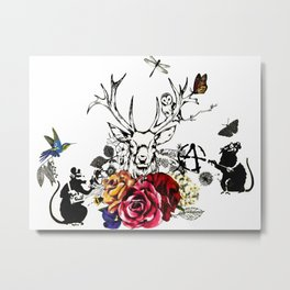 Deer Banksy rats Metal Print