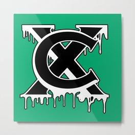 """""""XC"""" Drip Logo Black/White/Green Metal Print"""