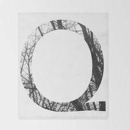 Minimal Letter Q Print With Photography Background Throw Blanket