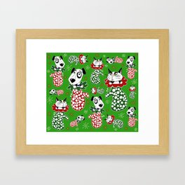 Christmas Puppies & Kittens Stuffed into Mittens! Framed Art Print