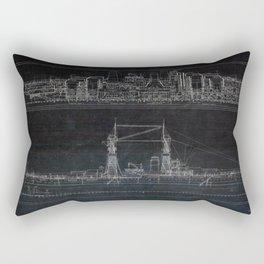 Vintage USS Oklahoma Blueprints Rectangular Pillow