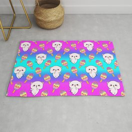 Cute happy playful cuddly funny baby kittens, sweet adorable yummy colorful Kawaii rainbow ice cream popsicles cartoon summer bright rainbow blue pink pattern design Rug