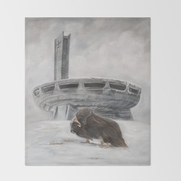 The Lone Musk Ox Throw Blanket