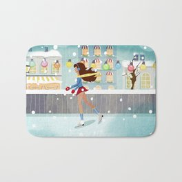 Ice Skating Girl Bath Mat