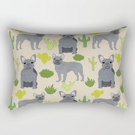 Frenchie french bulldog grey cactus desert southwest dog breed by pet friendly Rectangular Pillow