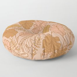Contour Line Leaves on Taupe Floor Pillow