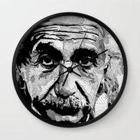 einstein Wall Clocks featuring Einstein by lyneth Morgan