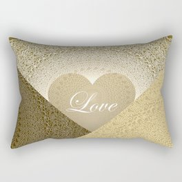 Geometric shapes with white mandala, heart shape with love in shades of beige Rectangular Pillow