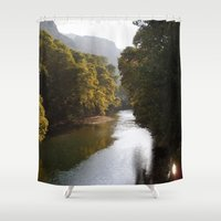 river Shower Curtains featuring River by Orestis Lazos