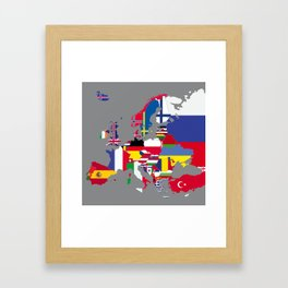 Europe flags grey Framed Art Print