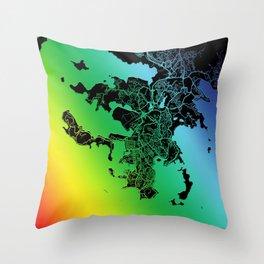 Noumea, New Caledonia, City, Map, Rainbow, Map, Art, Print Throw Pillow